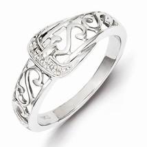 STERLING SILVER OPEN SCROLL DIAMOND BUCKLE  RING - SIZE 7 - £28.56 GBP