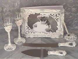 Elegant Rose Wedding Bridal Accessories Set Flutes Guest Book Pen Servin... - $59.98
