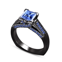 Solid 925 Silver Black Gold Plated Princess Cut Blue Sapphire Engagement... - $83.99