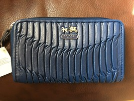 Nwt Coach Madison Gathered Universal Wallet Wristlet 64998 Blue - $79.99