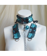 Made to Order - Kitten play collar leash and cuffs set - Turquoise diva ... - $79.00