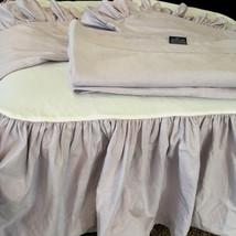 Vtg Ralph Lauren Full Bed Skirt Flat Sheet Shams Bedding Set Purple Oxfo... - $193.32