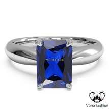 Rectangular Shape Blue Sapphire Solitaire Ring 10k White Gold Plated 925... - $75.99