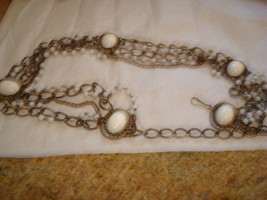 "Vintage White Lucite Beads and Cabs And Chains 36""L Belt - $19.79"