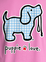 Puppie Love Rescue Dog Adult Unisex Short Sleeve Cotton Tee,Gingham Pup image 2