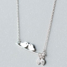 Art partysu leaf kiss birds 925 chain sterling silver pendant necklace - $43.58