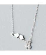 Art partysu leaf kiss birds 925 chain sterling silver pendant necklace - $825,72 MXN