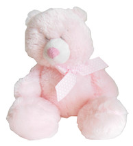 Baby Ganz Girls Pink Stuffed Plush Animal Toy Rattle Squeezable Polka Dot Bow - $11.95