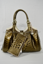 SET Brahmin Elisa Satchel/Shoulder Bag in Oak Primrose Tri-Texture + Ady... - $549.00