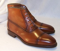 Handcrafted Mens Brown Color Lace Up Leather High Ankle Rounded Cap Toe Boots image 2