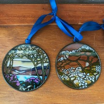 Estate Lot of 2 Prairie Arts Painted Round Glass Window Decorations or T... - $18.49