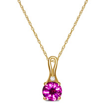 Beautiful Ladies Diamond Created Ruby Necklace Pendant in 10k Yellow Gold - $104.49