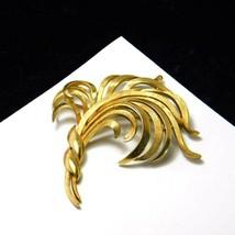 Vintage Crown Trifari Brooch Grass Leaf Ribbon Gold Plate Trifarium Cost... - $28.41