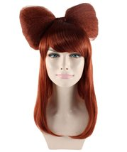 Long Hair Bow Wig, Dark Auburn HW-1186 - $26.99
