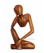 "12"" Wooden Abstract Sculpture Statue Hand Carved ""Thinking Man"" Gift Hom... - €35,91 EUR"