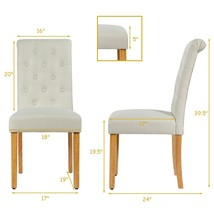 Set of 2 Tufted Dining Chair -Beige - Color: Beige - $211.42