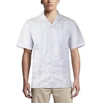 Alberto Cardinali Men's Guayabera Short Sleeve Cuban Casual Dress Shirt (M, Whit