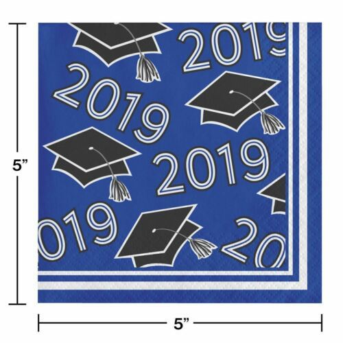Class of 2019 Blue Black 36 ct Value Size Graduation Beverage Napkins