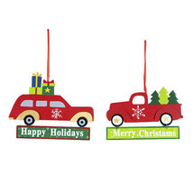 Darice Car/Truck Christmas Ornament: MDF, 5.51 x 4.33 inches, 2 Assorted... - $6.99
