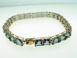 9 Carat Gold Mystic Topaz Set Bracelet 28 Stones 6 x 6 mm - $252.56