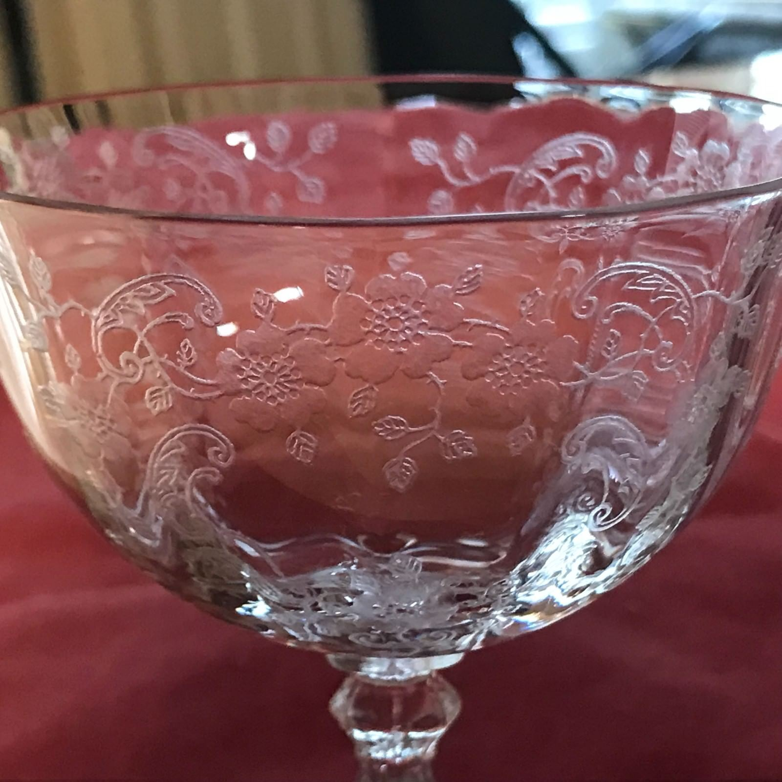 Primary image for Fostoria MEADOW ROSE Goblet Clear 6 oz Sherbet Champagne Glass Stem 18-261