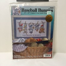 "Baseball Bunnies Cross Stitch Kit Michael Abrams Design Works 10"" x 18"" - $9.74"
