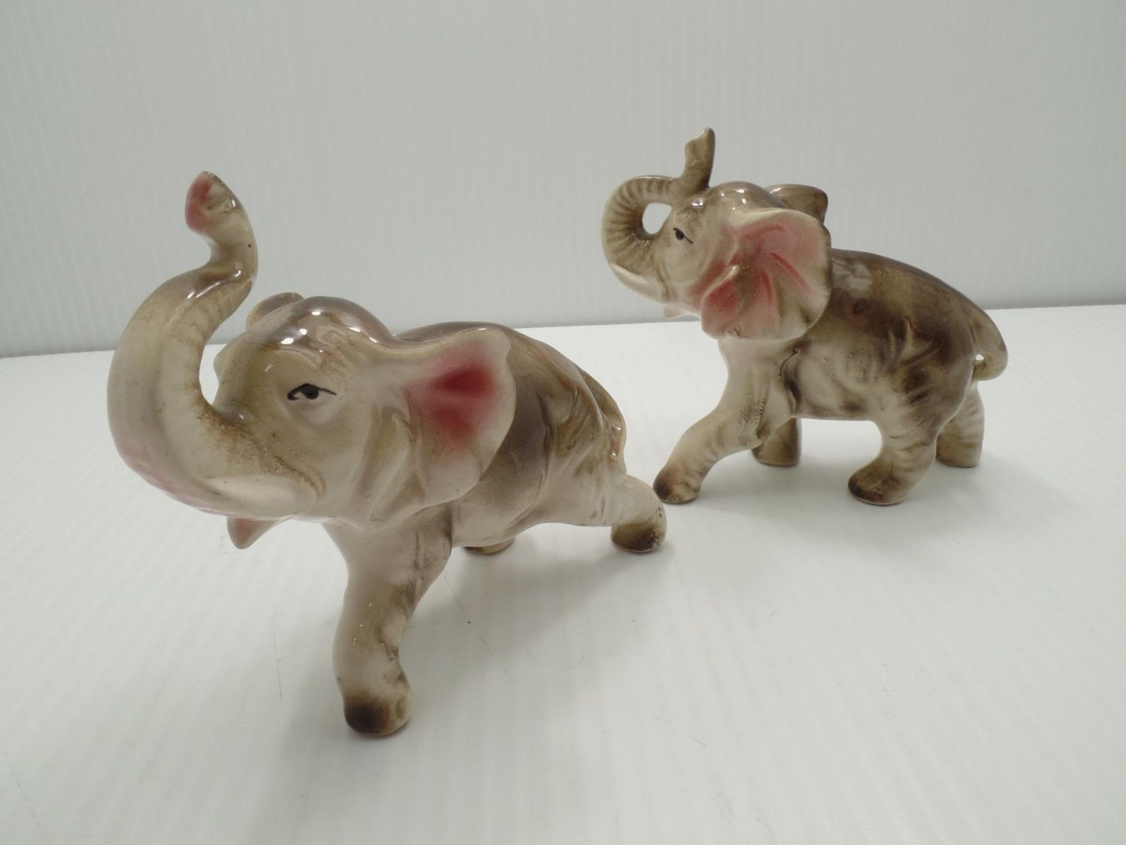 "Primary image for Elephant Figures Figurines Trunks Up Good Luck 4"" Japan Ceramic or Porcelain VTG"