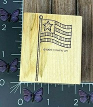 Stampin' Up! American Flag Rubber Stamp 1999 Stitched Patriotic Wood Mou... - $4.95