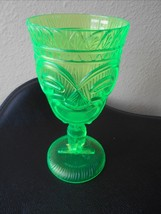 "new hard plastic green transparent tiki wine goblet 7"" tall 3.25"" diam cute - $8.59"