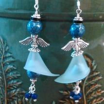 Angel Dangle Wire Wrap Earrings Blue Gemstone Beads Sterling Wires Handmade image 3