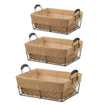 Stackable Rectangle Metal Basket w/ Liner Set Of 3 - 33465 - $39.59