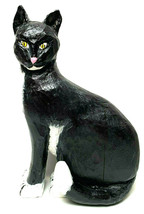 Vintage Primitive Cat Hand Carved Hand Painted Wooden Folk Art Halloween - $74.25