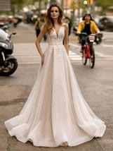 Sexy V-neck Open Back Shiny Tulle Beaded Lace Appliqued Princess A- Line Wedding image 8