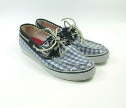 Sperry TOP-SIDER Blue Plaid Sequin Boat Shoes Loafer Flat Size 8M - $23.01