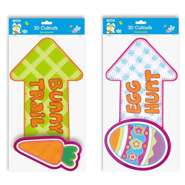 3Pc Easter Pop Layer Cutout With Hot Stamping, 2 Designs, Case of 48