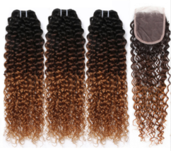 Mongolian Afro Kinky Curly Remy Human Hair 3 Bundles with 4x4 Lace closure 100%  - $141.00+
