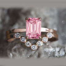 Bridal Wedding Ring Set Rectangular Shape Pink CZ 14k Rose Gold Over 925 Silver - $80.19