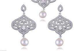 Shell Pearl Dangle Earrings Sterling Silver 925 Pave Set White Cubic Zir... - $62.50