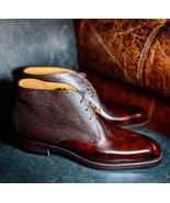 Bespoke Handmade Burgundy Ankle Lace Up Leather Boots Men - $159.97+