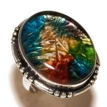 Multi Color Dichroic Glass Gemstone 925 Silver Overlay Handmade Ring US-... - $11.99