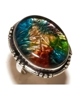Multi Color Dichroic Glass Gemstone 925 Silver Overlay Handmade Ring US-... - $273,22 MXN