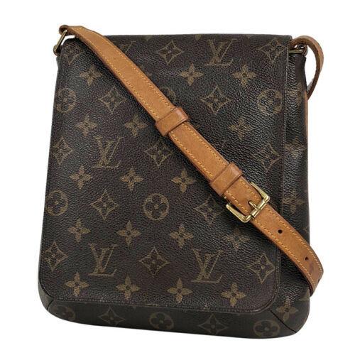 Auth Louis Vuitton Monogram Shoulder Bag Brown Leather PVC Inner Pocket LVB0653