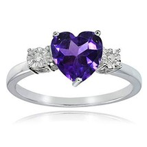Ice Gems Sterling Silver African Amethyst and Heart Ring - $33.99