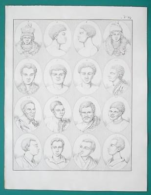 PEOPLE of Africa Negros Hottentots Van Diemen Land Papua - 1828 Antique Print