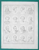 PEOPLE of Africa Negros Hottentots Van Diemen Land Papua - 1828 Antique ... - $21.60