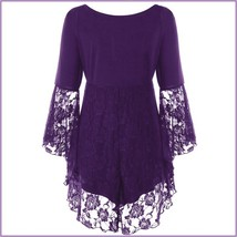 Purple Plus Size Gothic Lace Up Front Flare Sleeves Irregular Extended Lace Hem image 2