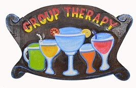 WorldBazzar Hand Carved Wooden Brown Colorful Group Therapy Cocktails Dr... - $19.74
