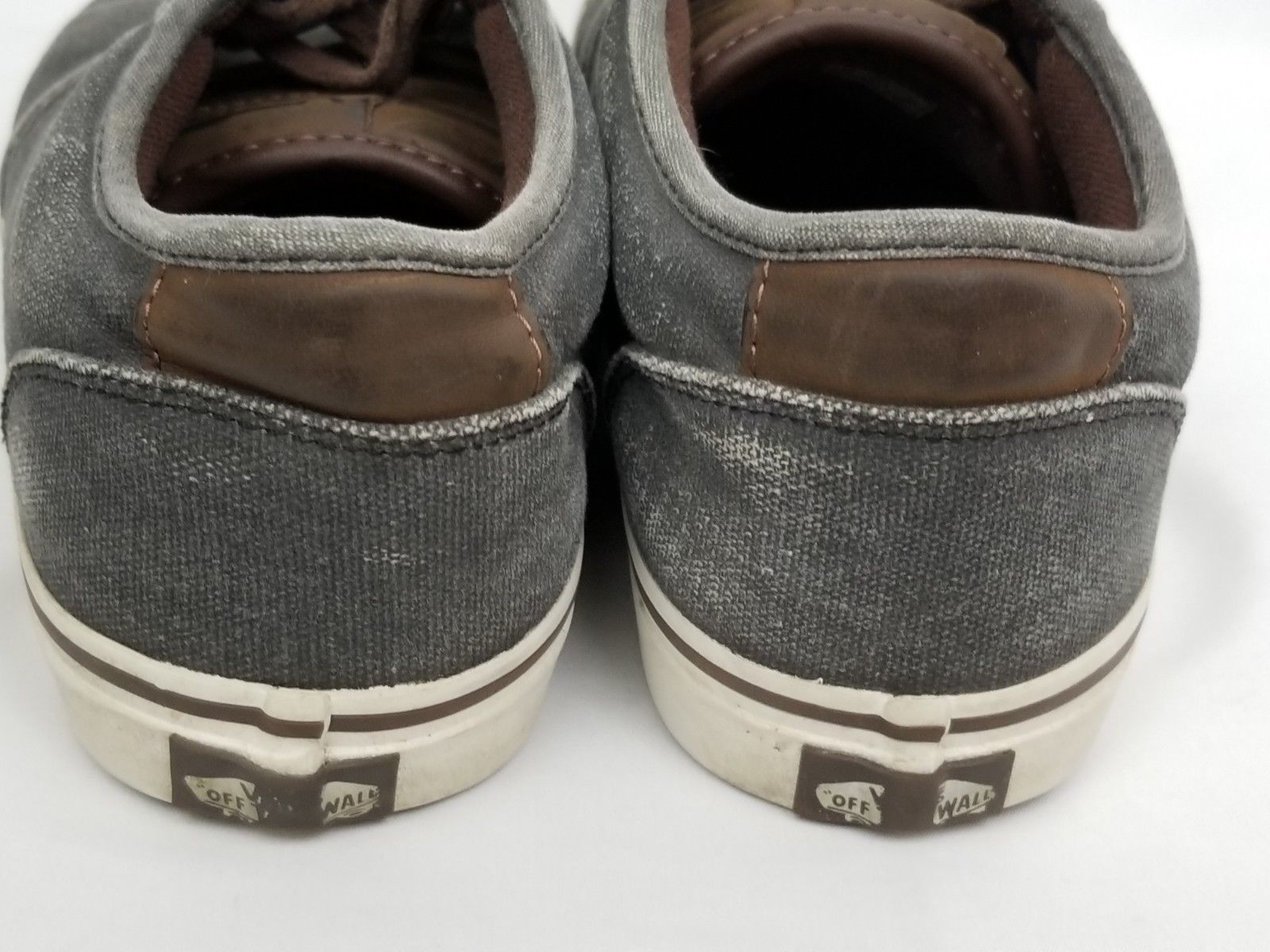 Mens Size 10 Gray Brown Vans Sneakers Shoes Lace Up 721356 image 6