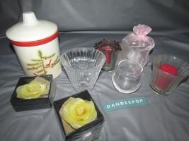 8 Assorted Empty Candle Jars And Glass Holders Hallmark, Yankee, grasslands - $22.76
