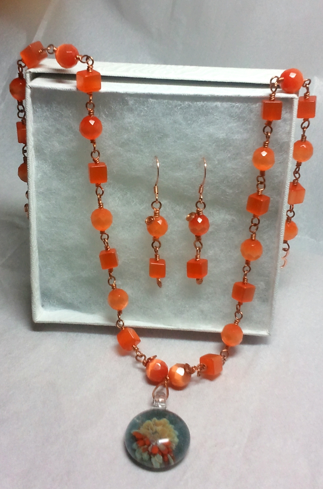 Copper Wire Wrapped Orange Fiber Optics and Floral Glass Necklace Set